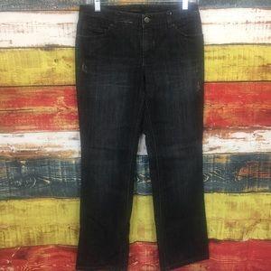 Elie Tahari Black Distressed Straight Leg Jeans